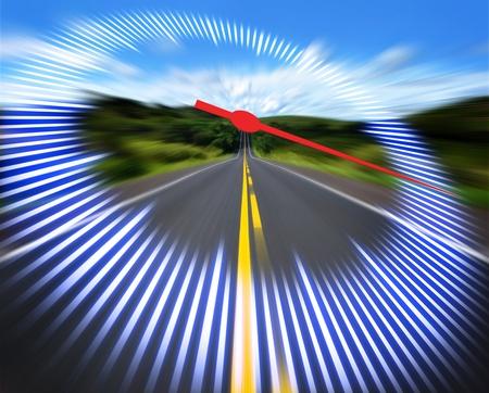 speedometer: Tachimetro stilizzata sulla pista ad alta velocit�. Concetto di velocit�. Archivio Fotografico