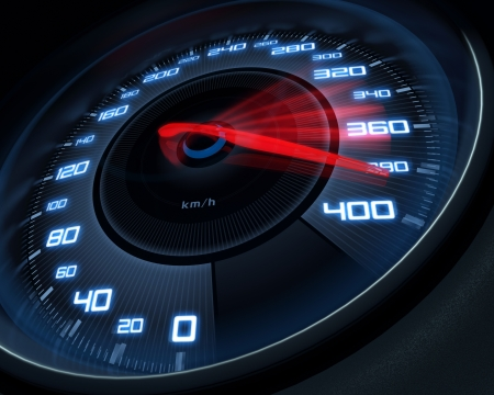 speedometer: Tachimetro segnando ad alta velocit� in un movimento veloce sfocatura.
