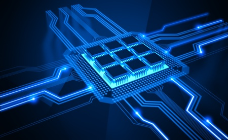 integrated: Central Processing Unit. A processor (microchip) interconnected receiving and sending information. Concept of technology and future. Stock Photo