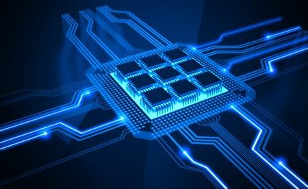 Unidad de procesamiento central. Un procesador (microchip) interconectados recibir y enviar información. Concepto de tecnología y futuro.