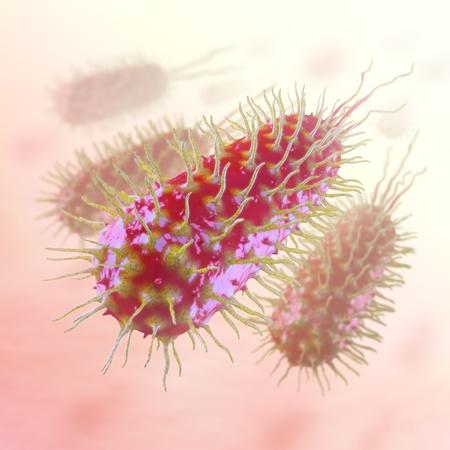 microbiologia: Bacterias infecciosas estrechamente. Concepto de transmisi�n de la enfermedad y la epidemia. Foto de archivo
