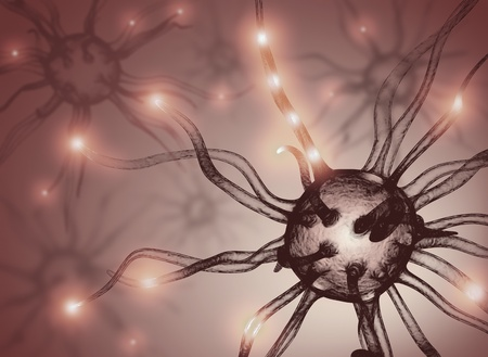 Interconnected neurons transferring information with electrical pulses. Imagens