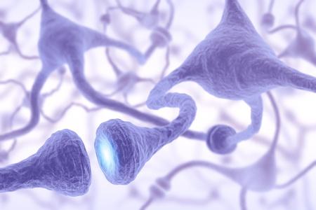 Neuronas interconectadas transferir información con impulsos eléctricos. Foto de archivo