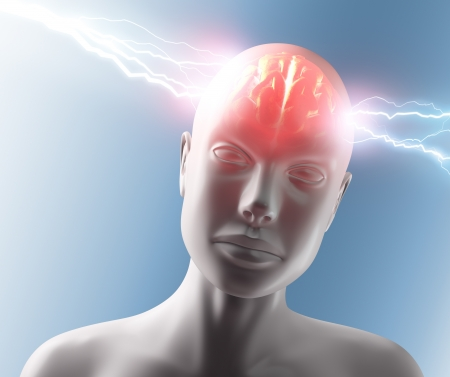 Lightning going through the head and brain. Concept of headache. Stock Photo