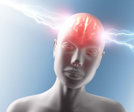 cognicion: Rayo que pasa por la cabeza y el cerebro. Concepto de dolor de cabeza.