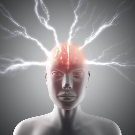 nervios: Rayo que pasa por la cabeza y el cerebro. Concepto de dolor de cabeza o el poder de la mente.