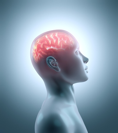 pensador: Cerebro caliente en un cuerpo frío. Concepto de brainstorm, cyborg, inteligencia y tecnología