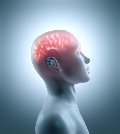 perceptie: Hete hersenen in een koude lichaam. Concept van technologie, cyborg, brainstorm en intelligentie
