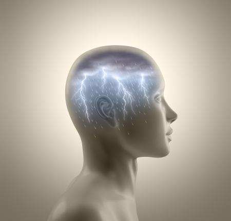 Tormenta dentro de la cabeza. Relámpagos y la lluvia cae de las nubes que simboliza el concepto de brainstorm.