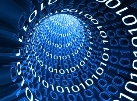 Numéros zéro et un intérieur du câble de l'information. Concept de la technologie et le futur.