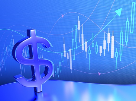 Candlestick chart in a digital LCD panel, with the dollar sign in front. photo