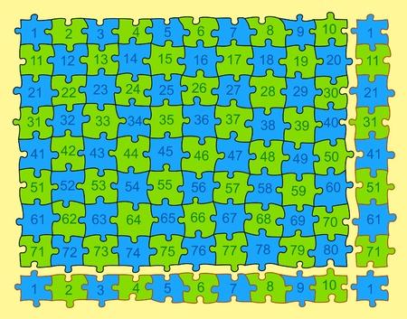 multiply: Puzzle con 80 piezas diferentes (no igual), pero con las esquinas posibles de la repetici�n sin fin. �tiles para multiplicar los accesorios de las partes en el borde perfecto. Vectores