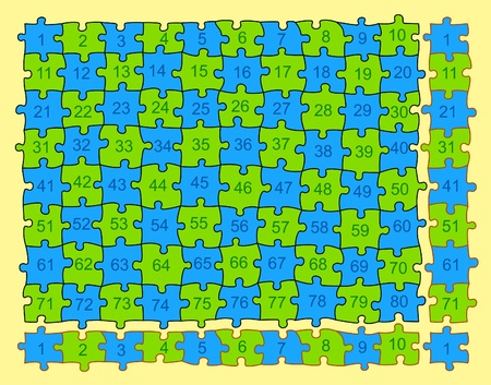 Puzzle with 80 different pieces (no equal), but with the possible corners of endless repetition. Useful to multiply the parts fittings in perfect edge. Stock Vector - 10920492
