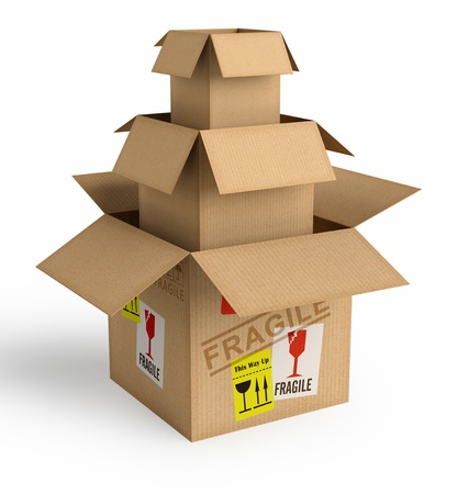 A box inside the other. Concept of protection and safe packaging. Stock Photo