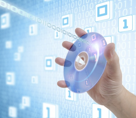 compacting: Hand holding a disc of digital media. Concept of information, storage, music and technologies.
