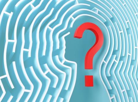 questionnement: Point d'interrogation � l'int�rieur d'un labyrinthe en forme de t�te humaine. Banque d'images
