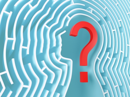 psychics: Question mark inside a maze in the shape of human head.