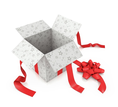 Open gift with star prints and textured red ribbon.
