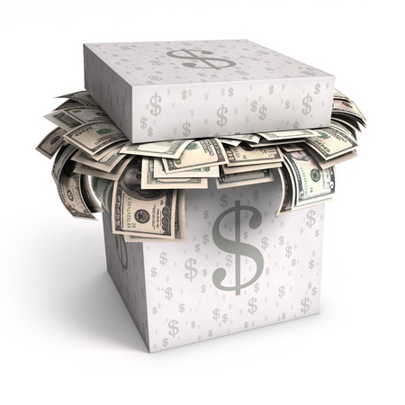 Several U.S. dollar bills in a paper box with the sign of money in its texture. Stock Photo - 12423738