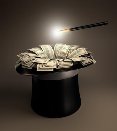 mucho dinero: La varita mágica que componen una gran cantidad de dinero en el sombrero mágico.