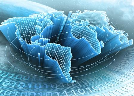 telecomm: Mapa del mundo interconectado por la informaci�n. Concepto global de la informaci�n y la tecnolog�a de la comunicaci�n. Foto de archivo