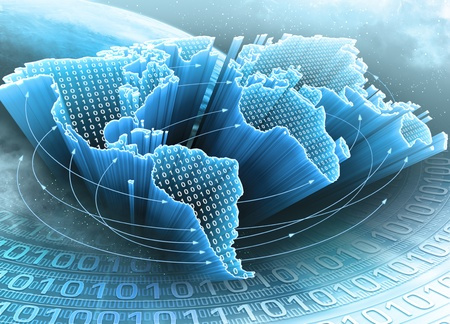 telecomm: World Map interconnected by information. Concept of global information and technology of communication.