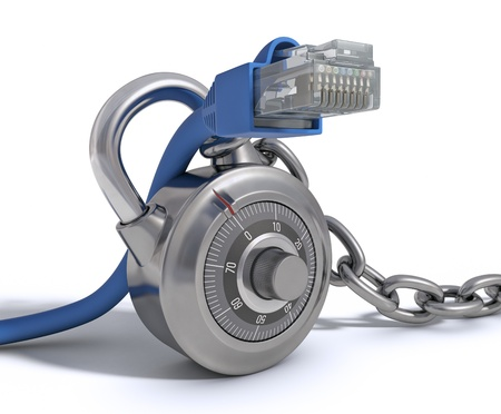 encryption: RJ45 Cable protected by conceptual padlock  Concept of protection of internet  Stock Photo