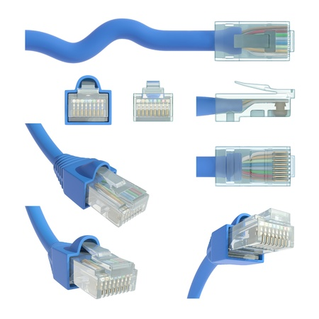 RJ45 cable in various positions and angles of vision. photo
