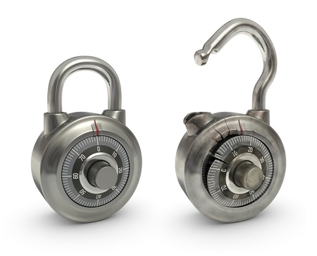 overlaying: Two padlocks, one new and other broken. Both in the same position. Useful for animation overlaying the images.
