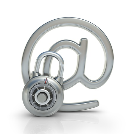 Email protected by a padlock  Concept of protection of electronic information