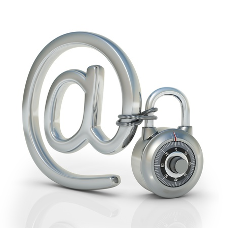 Email protected by a padlock  Concept of protection of electronic information  photo