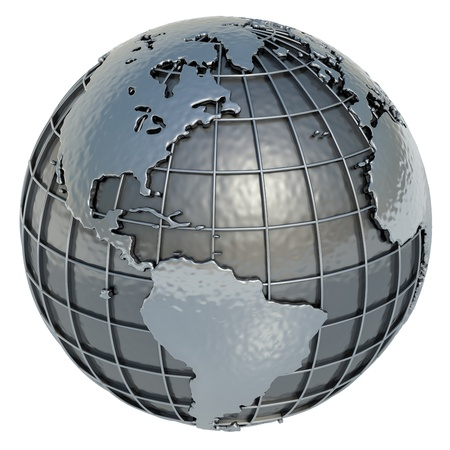 The Americas Planet Earth made of metal on a white background  Stock Photo