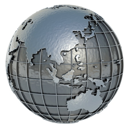 longitude: Asia Oceania Planet Earth made of metal on a white background  Stock Photo