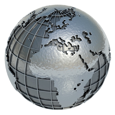 mundi: Europe Africa Planet Earth made of metal on a white background