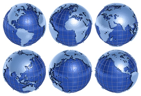 The globe of the Planet Earth in six sides on a white background. photo