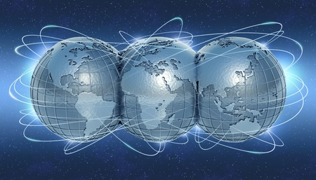 multinational: The planet earth showing the 3 sides in whole world  The lines symbolize the links between the countries  Concept of travel, communication, business and internet  Stock Photo