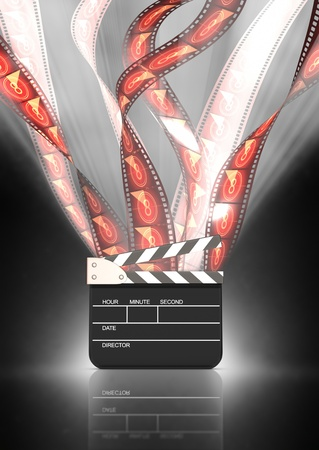 film festival: film strips going up high behind the clapboard with back illumination  Stock Photo