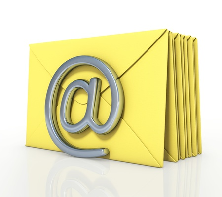 sent: Several yellow cards in a queue to be sent by email.