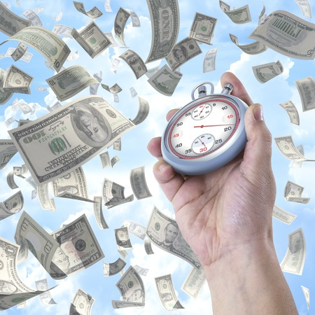 chronometer: Time is money. Stopwatch pointing the time to earn money.