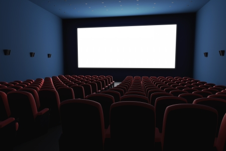 cinema screen: Inside of the cinema. Several empty seats waiting the movie on the white screen.