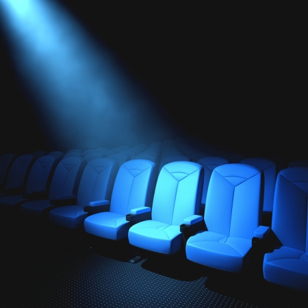 Spotlight on an empty chair. Concept of someone important to arrive.