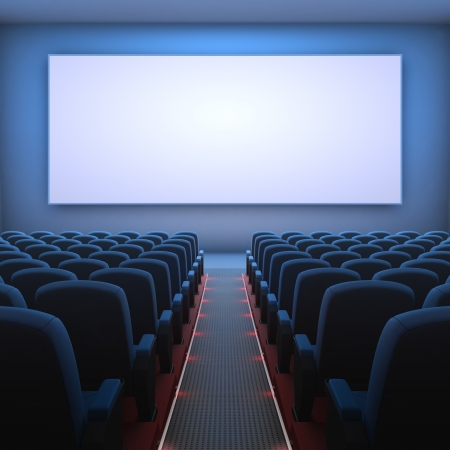 theater stage: Inside of the cinema  Several empty seats waiting the movie on the screen  Your text or picture on the white screen  Stock Photo