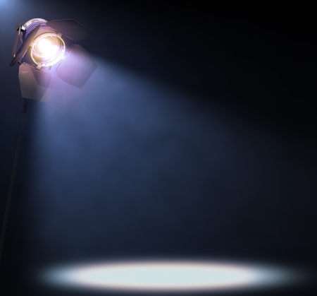 showtime: The lights illuminate the area where someone or something important is in the spotlight  His text or image in the center of the lights  Stock Photo