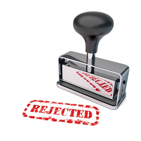 unsuccessfully: High detail rejected stamp over white background.