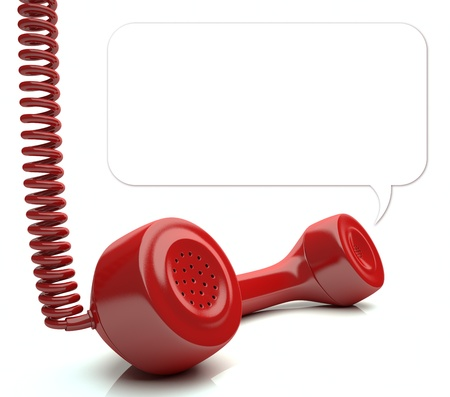 emergency call: Red phone over white floor  Your message on balloon  You can change the size of the balloon painting the background with white color and redraw another balloon