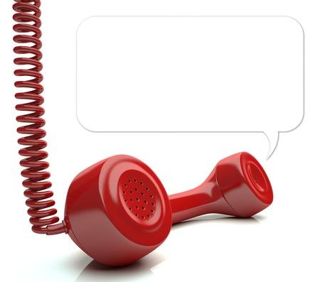 emergencia: Tel�fono rojo sobre el piso blanco de su mensaje en globo Puede cambiar el tama�o del globo pintar el fondo con el color blanco y volver a dibujar otro globo