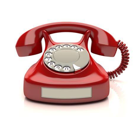 telefono antico: Telefono rosso con etichetta vuota. Il tuo numero sull'etichetta.