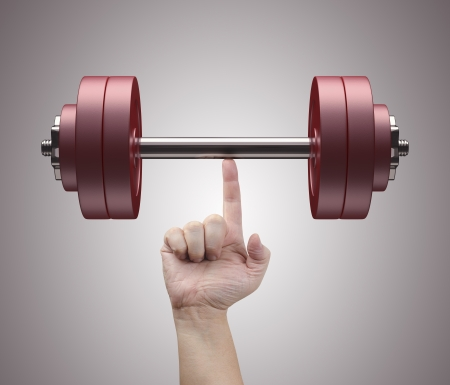 lifting hands: Weight lifting with just one finger. Concept of strength and training.