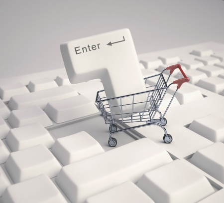 Enter button in the shopping cart  Concept of internet shopping  photo