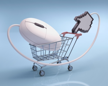 electronic commerce: Mouse in the shopping cart  Concept of internet shopping
